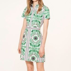 Tory Burch Printed Button up Dress with Pockets